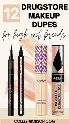 12 affordable drugstore makeup dupes for our favorite high-end makeup products that will save you money and keep you looking beautiful. #drugstoremakeupdupes Drugstore Makeup Dupes, Beauty Dupes, Beauty Hacks, Makeup Ideas, Makeup Tips, Shape Tape Contour Concealer, Gel Nails At Home, Easy Makeup Tutorial, Makeup Must Haves