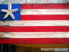 Cute Flag decor using free paint sticks ~ Deneen @ Dreaming In Color