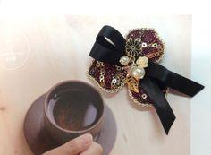 Petals Flower Jewelery Brooch Pearl Charm Ribbon by Shoimade