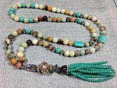 Amazonite, Swarovski Crystal tassel necklace