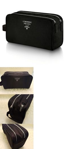 Other Mens Accessories 1060: Prada L Homme Men S Toiletry Two Zip Lock Pouch Shaving Dopp Kit Bag New -> BUY IT NOW ONLY: $32 on eBay!