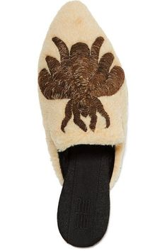 Sanayi313 | Ragno embroidered shearling slippers | NET-A-PORTER.COM