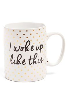 Channeling the confidence of a queenwith this cute mug speckled with gold polka dots.
