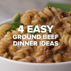 4 Easy Ground Beef D 4 Easy Ground Beef Dinner Ideas //. 4 Easy Ground Beef D 4 Easy Ground Beef Dinner Ideas // 4 Easy Ground Beef D 4 Easy Ground Beef Dinner Ideas // Meat Recipes, Pasta Recipes, Cooking Recipes, Healthy Recipes, Cooking Beef, Beef Meals, Casserole Recipes, Oven Recipes, Food Recipes