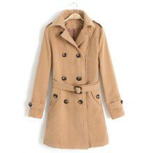 Simple Style Turn-Down Collar Double-Breasted Solid Color Long Sleeves Women's Trench Coat With Belt