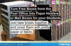 Turn Free Boxes from the Post Office into Paper Holders or Mail Boxes for your Students