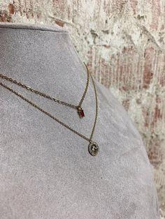 Grano de color plata oro impresionante y Bar En capas Collar Cadena y pendiente conjunto