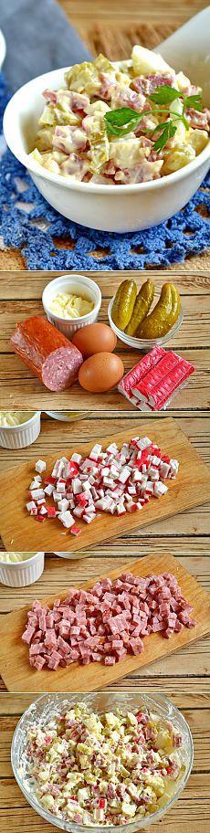 Салат с копченой колбасой и крабовыми палочками. Рецепт с фото.   Еда XXI века. Кулинарный блог Тимошина Алексея.