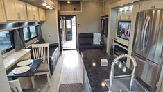 Beachfront and slate grey decor in a Luxe 45FB Toy Hauler Luxury Fifth Wheel, Fifth Wheel Toy Haulers, Build Your Own, Toys, Building, Slate, Grey, Decor, Diy