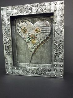 Steampunk shadowbox wall art. 'Heart of Steel' by Stewdio61 on Etsy