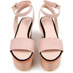 Cacharel J Platform Sandals - Nude - A3201 ($318) ❤ liked on Polyvore
