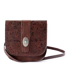 Look at this I Love Accessories Brown Floral Saddle Leather Crossbody Bag on #zulily today!