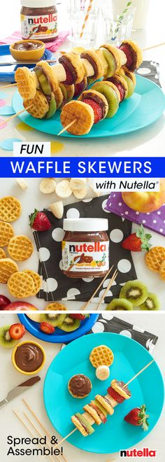 When a delicious breakfast is at stake, waffle and fruit skewers with Nutella® will always come through. Just spread, assemble and enjoy – it's that easy!