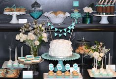 Pick a color theme and run with it, cute. Various desserts and platters, different levels of presentation, etc.