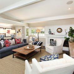 Cape Cod Living Room Cozy. I Could Hang Out There. Navy Couch, Blue