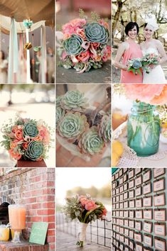 This Real Wedding hodge-podge brings all the trends together with an aqua and pink palette, mason jars and succulents!
