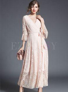 Shop Elegant Flare Sleeve Lace V-neck Maxi Dress at EZPOPSY.