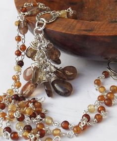 Andalusite pendant, garnet necklace, hessonite necklace, andalusite drops, sterling silver, beaded necklace, boho style necklace by graciedot on Etsy