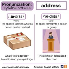 Pronunciation - syllable stress: Address English Tips, English Idioms, English Words, English Lessons, English Vocabulary, English Grammar, Learn English, English Class, English Language Learning