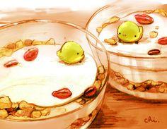 お隣が気になる。●お菓子のレシピ本で発見。チーズクリームをたっぷり、ぶどうを一粒飾ります。