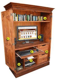 computer armoire hidden deskcabinet