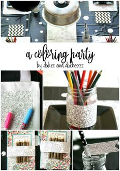 a coloring party for kids with lots of creative details