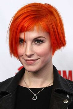 Short Baby Bob and Baby Bangs with Orange Color