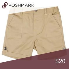 NWT Kardashian Kids Chino Khaki Shorts Brand new with tags!   Contrast accents and logo-etched hardware put a modern spin on flat-front chino shorts. Front slant pockets. 80% cotton, 20% viscose. Machine wash cold, line dry. By Kardashian Kids; imported. Kardashian Kids Bottoms Shorts