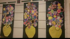 Vincent Van Gogh flower vase art. Done by elementary kids. 愛