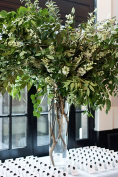 Impactful and Modern, Green and White Wedding at Sagamore Pendry in Baltimore - Sweet Root Village Blog Table Arrangements, Floral Arrangements, Floral Wedding, Wedding Flowers, Anniversary Centerpieces, Lakeside Wedding, November Wedding, Wedding Decorations, Table Decorations