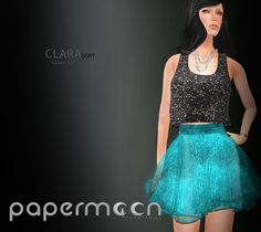 PaperMoon- CLARA Skirt-  Glitter/ Sea