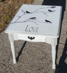 Bird Love Table with Lace painted Drawer.