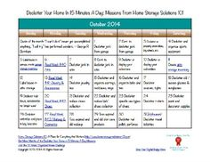 Here's the October 2014 declutter calendar with a daily 15 minute decluttering and organizing mission for each day of the month. Also includes a printable calendar.