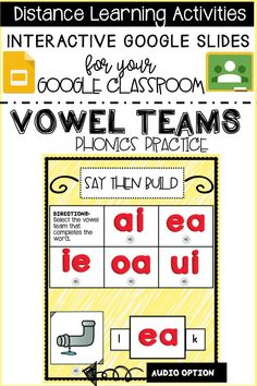 "Looking for paperless, interactive activities for your students during distance learning? Use these Interactive Google slides in your Google classroom or in a zoom lesson. My Vowel Team Phonics Practice activity is a fantastic resource where students can practice up to 48 different vowel teams, moving digital ""magnetic"" letters. Teaching Vowels, Learning Phonics, Phonics Rules, Phonics Lessons, Phonics Worksheets, Vowel Activities, Interactive Activities, Reading Intervention, Reading Skills"