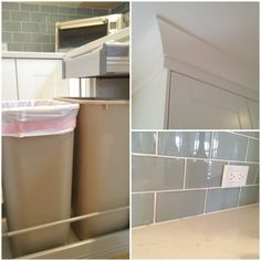 Caesarstone counters, ikea cabinets (drawer above slide-out garbage) glass backsplash House Tweaking, Diy Kitchen Remodel, House, Kitchen Confidential, Kitchen Remodel, Ikea, Home Kitchens, Diy Kitchen, Ikea Kitchen
