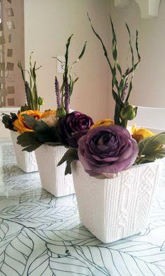 Set of 3 Silk Flower Arrangements White Pottery