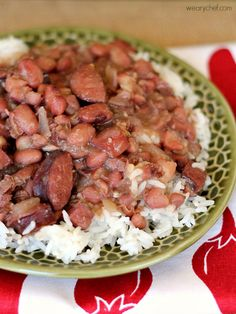 Slow Cooker Red Beans and Rice - The Weary Chef. Didnt do smoked pork chops, used ham hocks instead and removed after cooked. Also used healthier sausage (turkey). Used 6c water and cooked for about 6 hours and then pured a little w immersion blender--and then removed lid and cooked additional 45 min to thicken up. Seasoning was perfect!