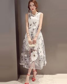 Round Neck Floral Chiffon Ankle Length White Maxi Dress - Rs.2,000