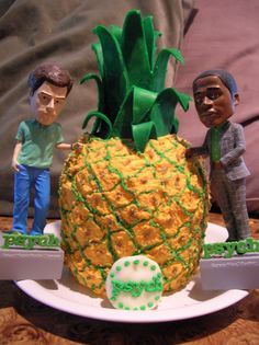 Psych Pineapple cake! All buttercream with candy clay details! All edible except for the Shawn and Gus bobbleheads! http://www.facebook.com/angelas.cakes2011