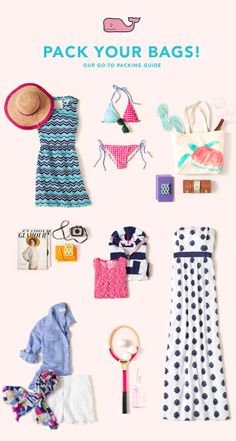 Pack your bags! Our go-to packing guide for summer adventures.  Vineyard Vines Blog Fashion Tips, Fashion Beauty, Womens Fashion, Fashion Outfits, Summer Outfits, Cute Outfits, Long Weekend, Summer Ideas, Spring Summer Fashion