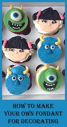 Monsters Inc- Make your own Fondant for decorating and other tutorials here.