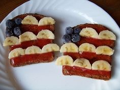Blueberry, banana, and strawberry jam American Flag Toast