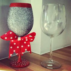 Before and after. Large silver glitter wine glass with red stem, diamonte base and polkadot bow