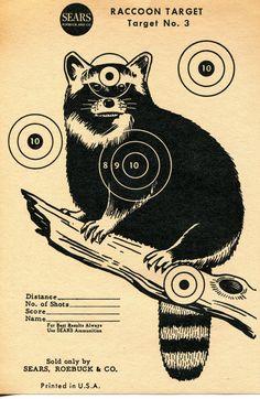 Vintage Shooting Target Racoon II by bidbklyn on Etsy, $10.00