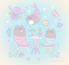 "Momoneko 桃猫 commissions open🌸's Instagram photo: ""Mermaid Pusheen tea party 🐱🐠🧜♀️✨💖 #pusheen #pusheenthecat #pusheenfanfriday #pusheenlove #pusheenlover #mermaid #dessert #cute…"" Pusheen, Tea Party, Mermaid, Snoopy, Kids Rugs, Dessert, Fictional Characters, Instagram, Home Decor"