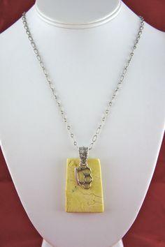 "Lemon Chrysoprase with Sterling Silver ""Brass Knuckle"" Charm #handmade #etsyretwt"
