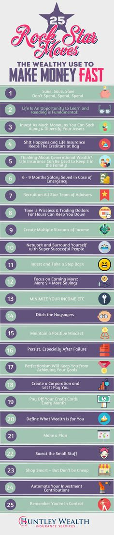 25 Incredible tips to make money fast - like only the filthy rich do! Investment, savings, living frugally are just a few of the ways you can generate lots of dough! Entrepreneurs use this advice.