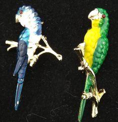 Vintage Enamel Bird Pins Set of 2 Vintage Costume Jewelry Brooch