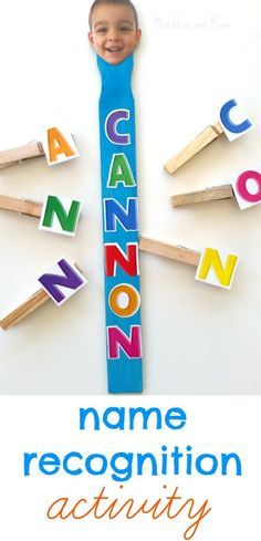Clothespin Name Recognition Activity: Reading your name, via Munchkins and Moms