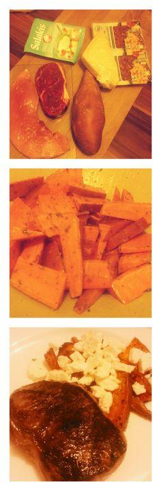 #Süßkartoffel #ofen #ölkräuter #mitspeck #Parmesan #oderfeta #Steak #schnitzelpaniertfürdenbub #meinejungsliebenes #selfmade #foodporn #antitütenkochen